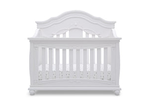 Simmons Kids Bianca White (130) Fairytale 5-in-1 Convertible Crib with Conversion Rails, Front Crib Silo View
