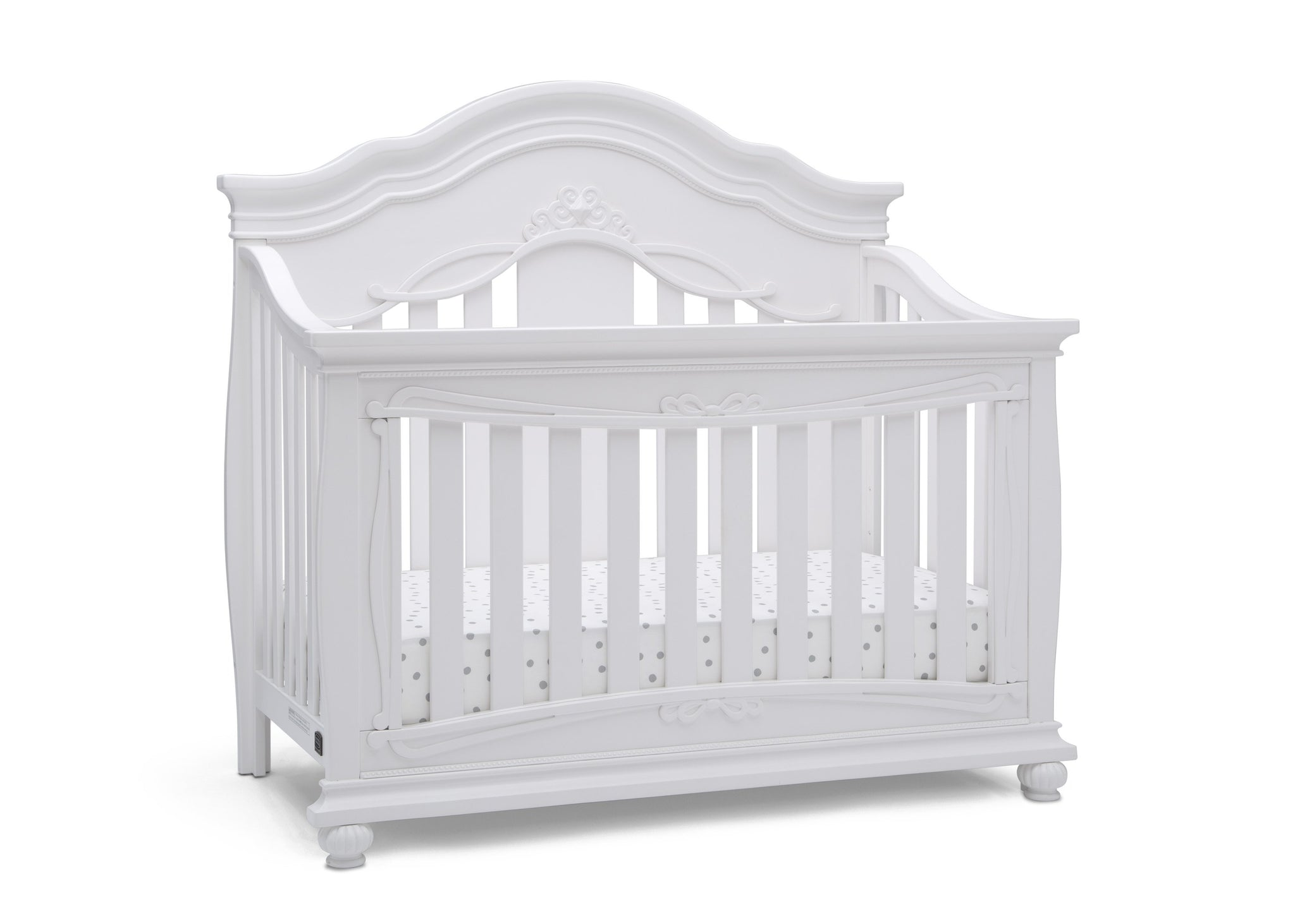 Simmons Kids Bianca White (130) Fairytale 5-in-1 Convertible Crib with Conversion Rails, Right Crib Silo View