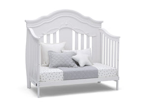 Simmons Kids Bianca White (130) Fairytale 5-in-1 Convertible Crib with Conversion Rails, Right Day Bed Silo View