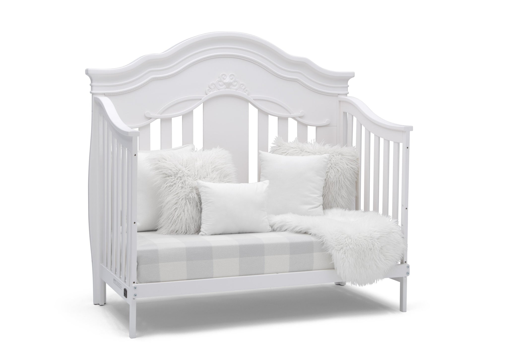 Simmons Kids Bianca White (130) Fairytale 5-in-1 Convertible Crib with Conversion Rails, Right Sofa Silo View
