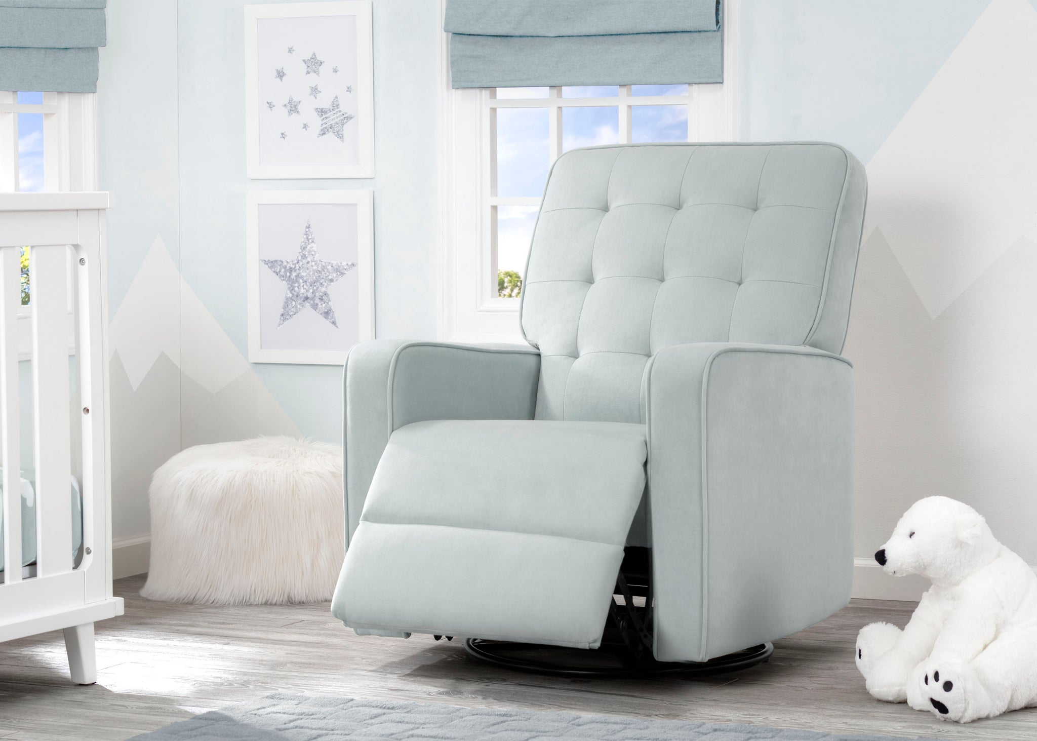 Delta Children Mist (934) Graham Nursery Glider Swivel Recliner, Room Reclined View