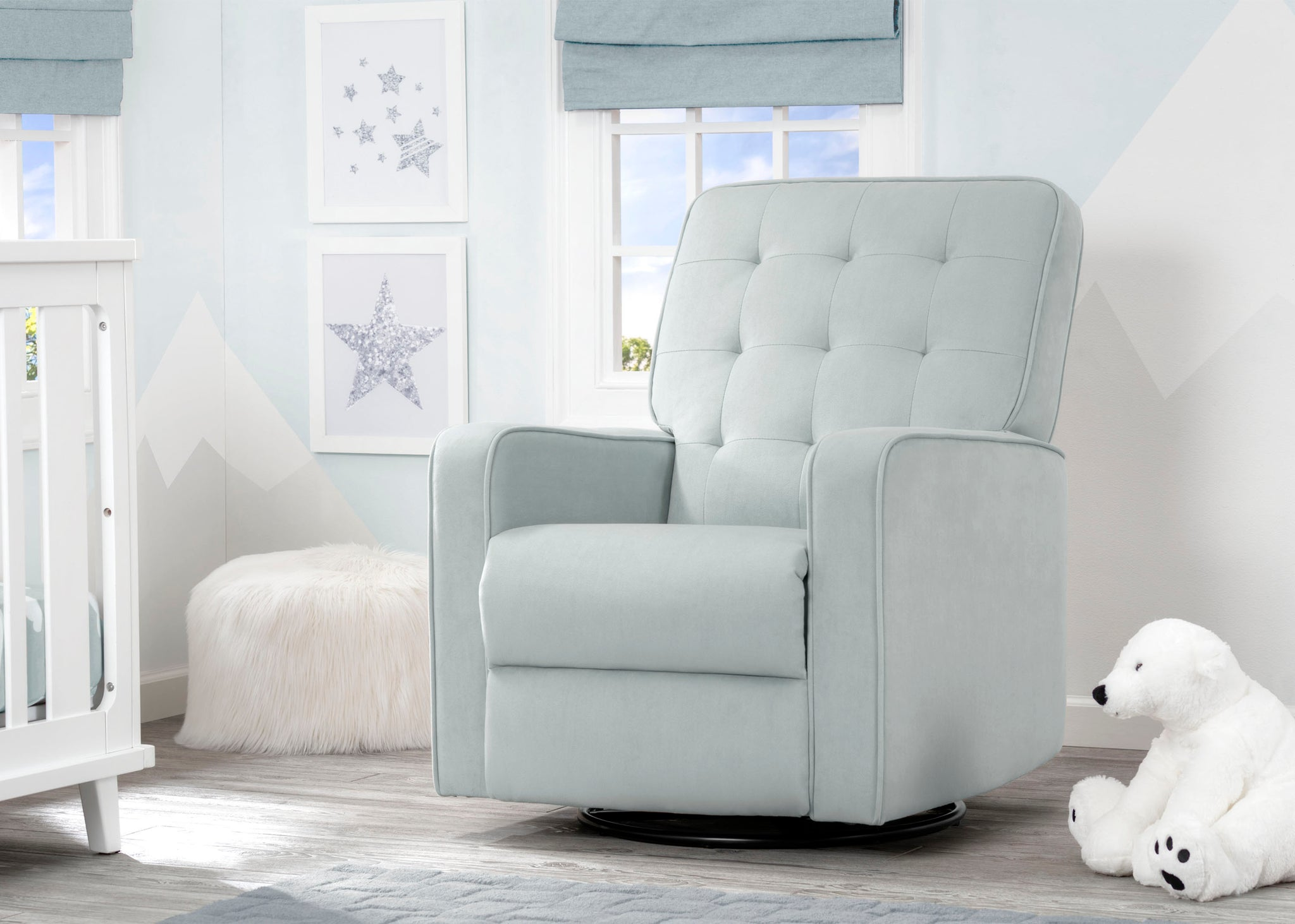 Delta Children Mist (934) Graham Nursery Glider Swivel Recliner, Room View