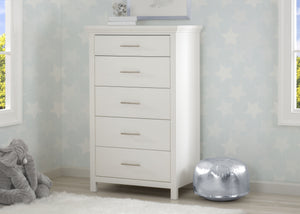 Simmons Kids Bianca White (130) Avery 5 Drawer Chest, Hangtag View