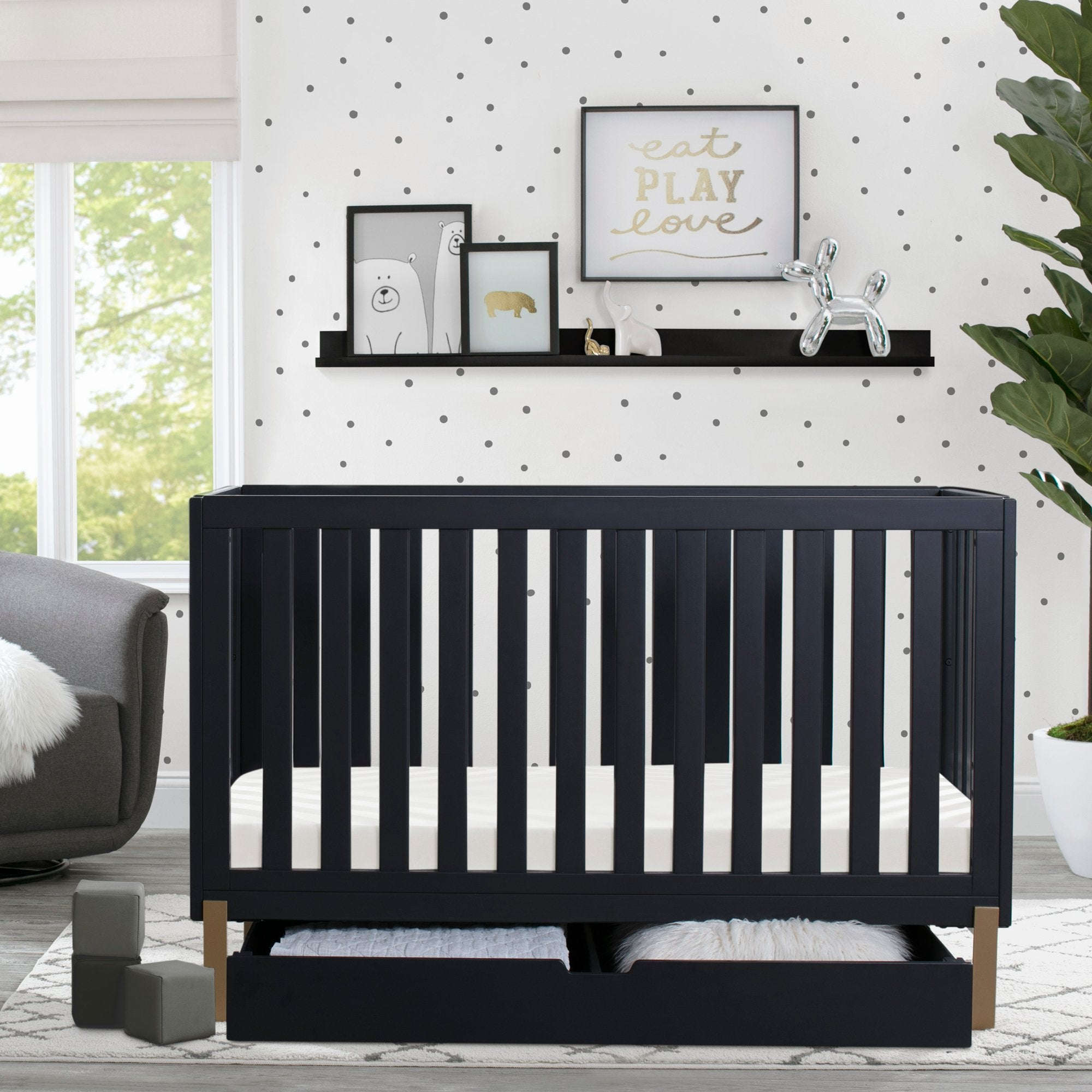 Hendrix 4-in-1 Convertible Crib + Under Crib Roll-Out Storage