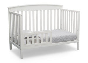 Delta Children Bianca White (130) Finley 4-in-1 Convertible Baby Crib Toddler Bed Angled View a5a