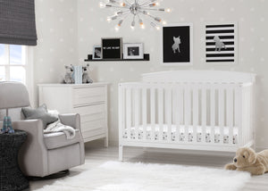 Delta Children Bianca White (130) Finley 4-in-1 Convertible Baby Crib Roomshot a1a