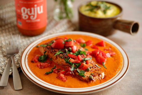 Indian fusion salmon with medium red pepper sauce for easy weeknight dinners