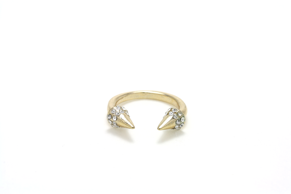 Crystal Spike Cuff Ring - JEWEL RUE  - 1