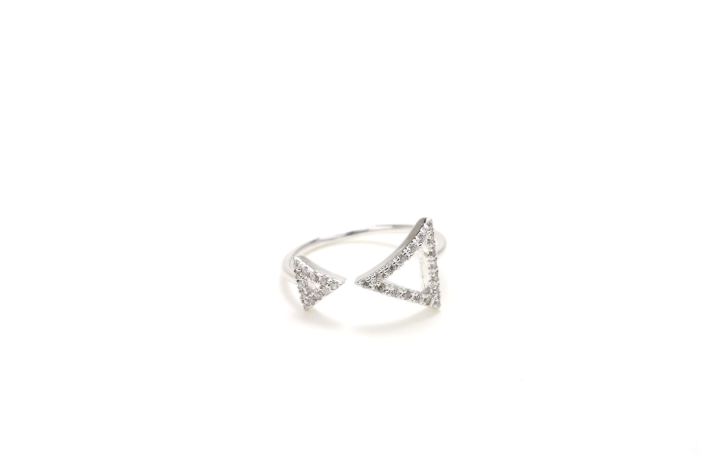Pave Double Triangle Ring - JEWEL RUE  - 1