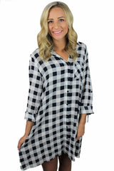 Buffalo Check Button-Up Dress