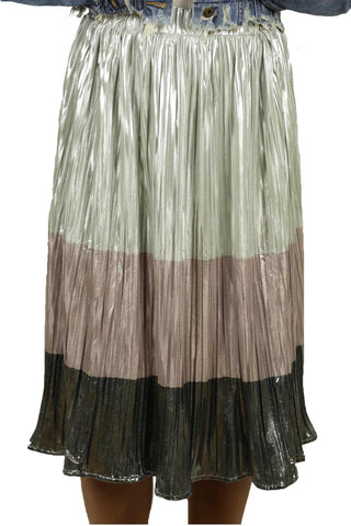 Shiny Accent Midi Skirt