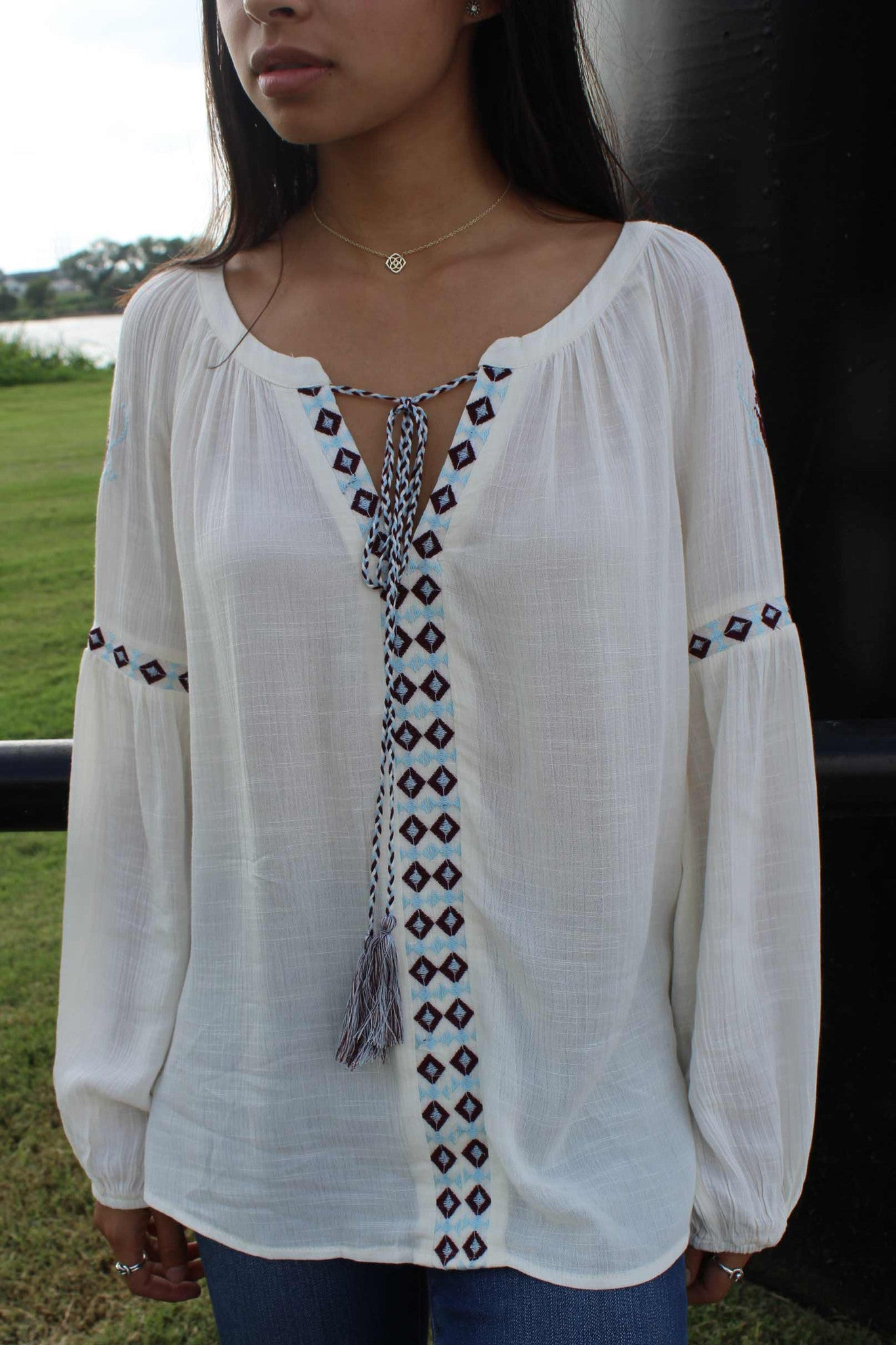 Lace Up Embroidered Top
