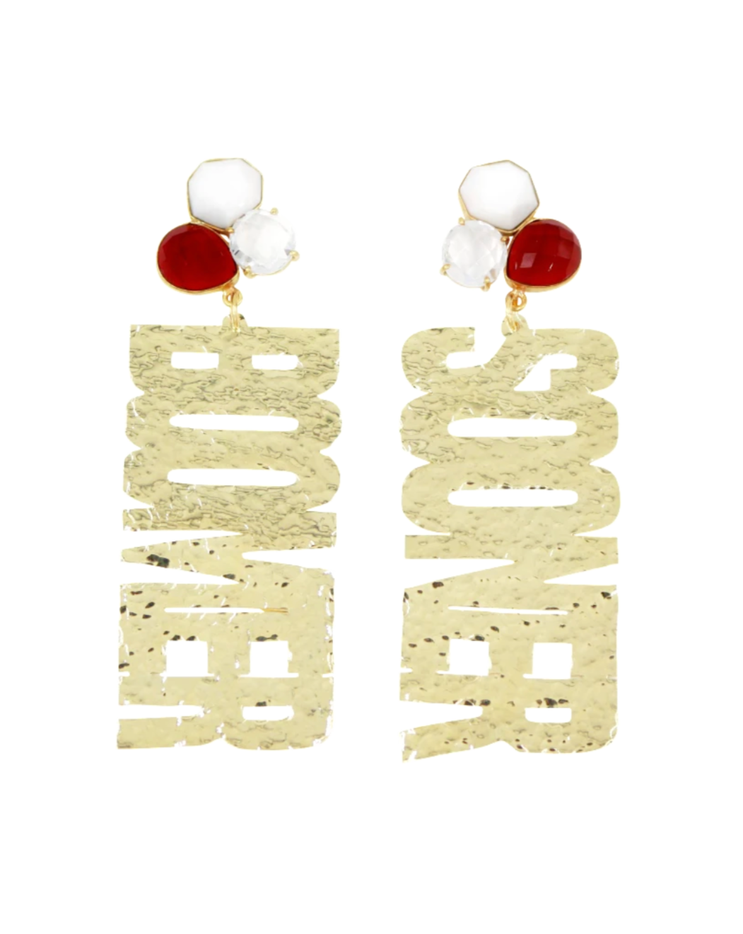 "OU Gold ""BOOMER SOONER"" Earrings with 3 Gemstones"
