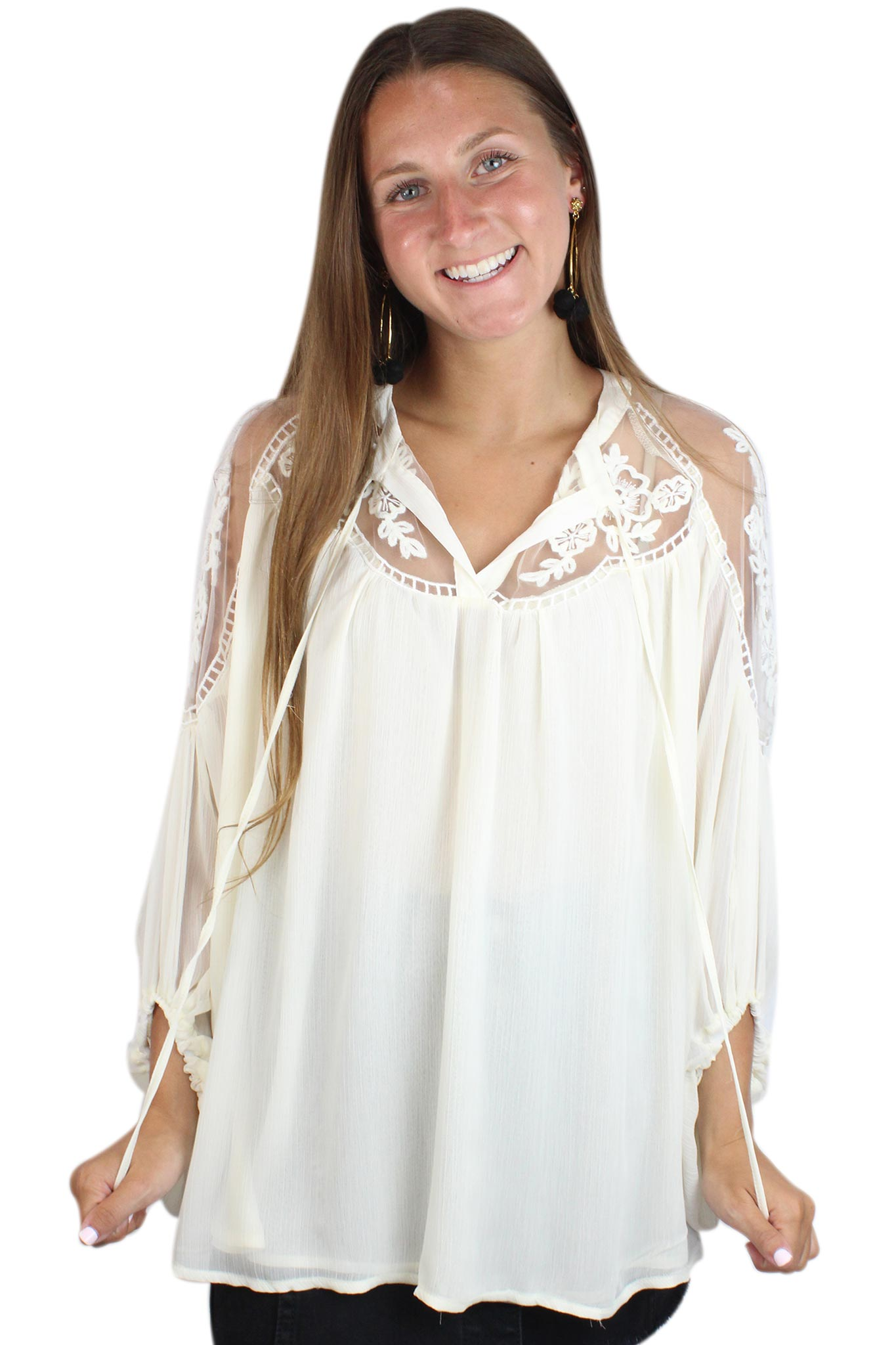 Floral Lace Sheer Tunic