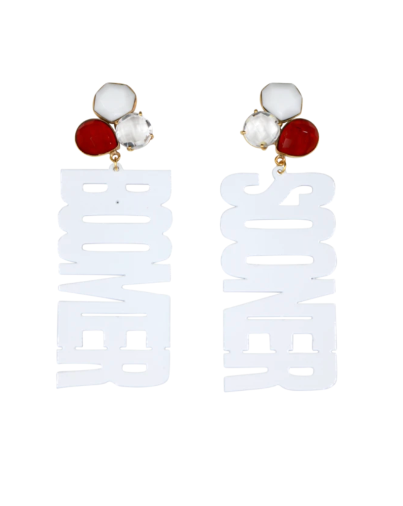 "OU White ""BOOMER SOONER"" Earrings with 3 Gemstones"