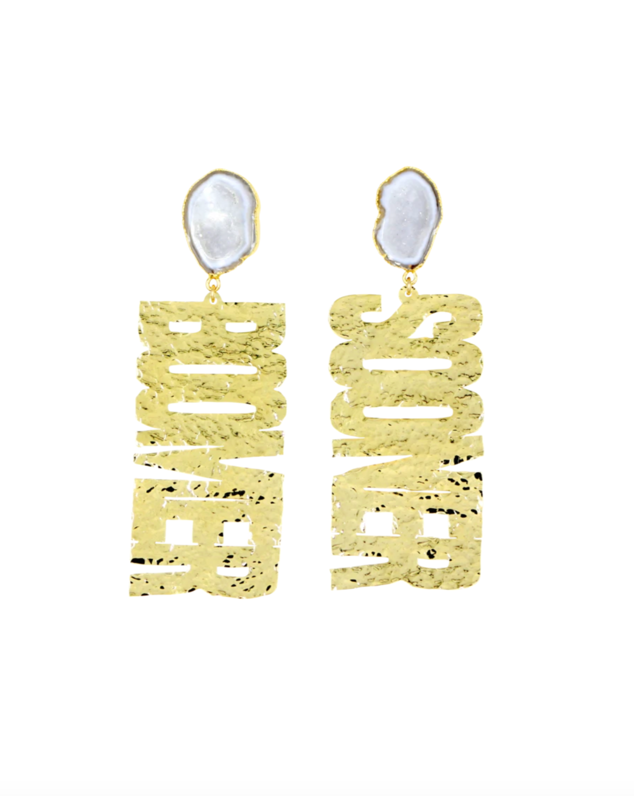 "OU Gold ""BOOMER SOONER"" Earrings with White Geode"