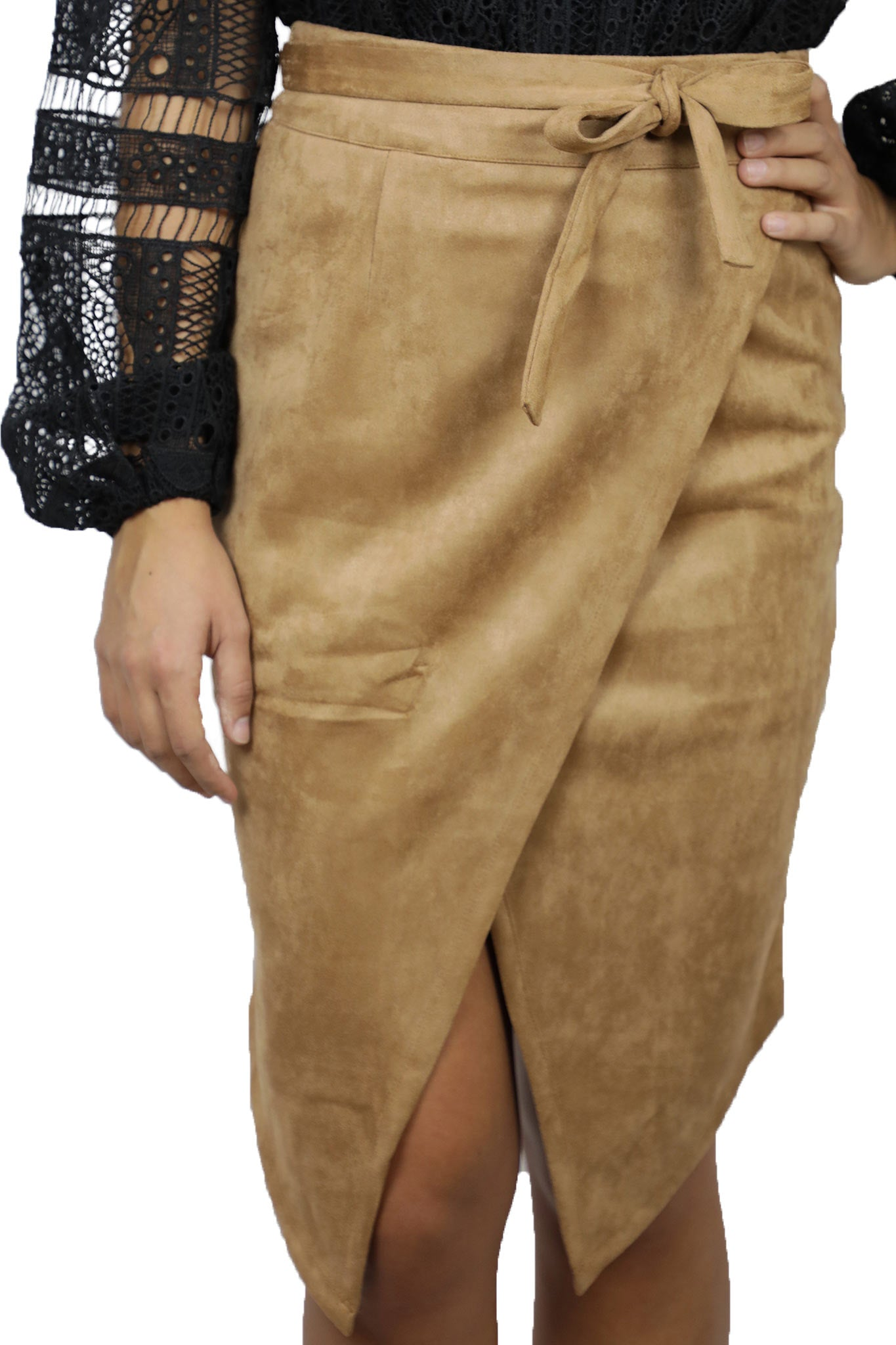 Suede Slit Skirt