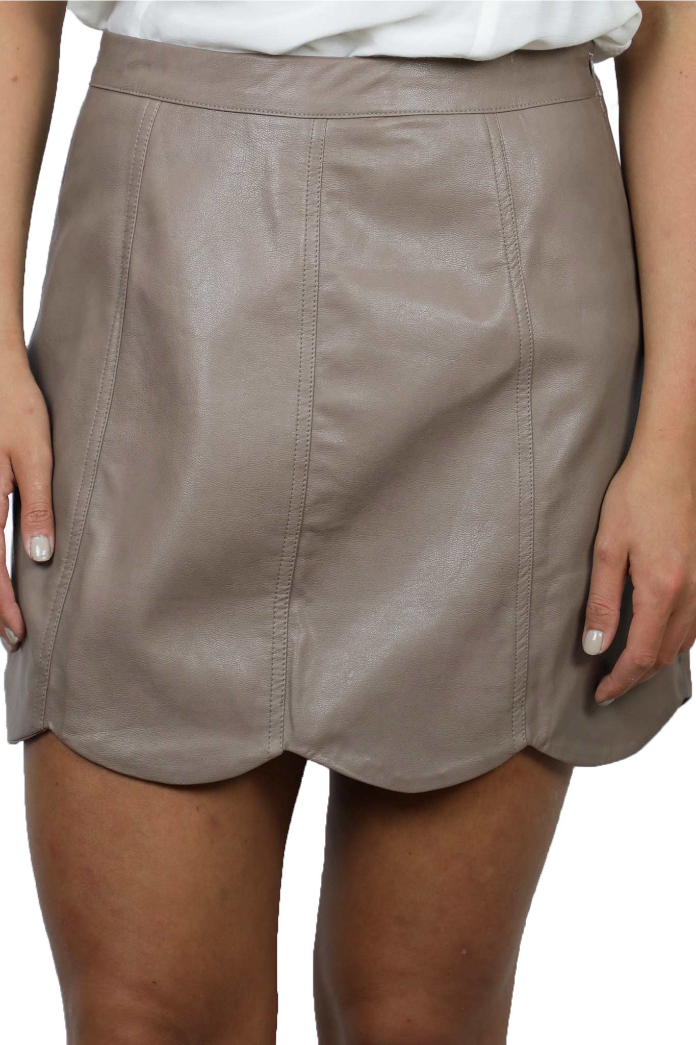 Scalloped Leather Skirt