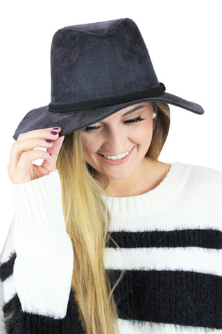 Wide Brim Suede Hat