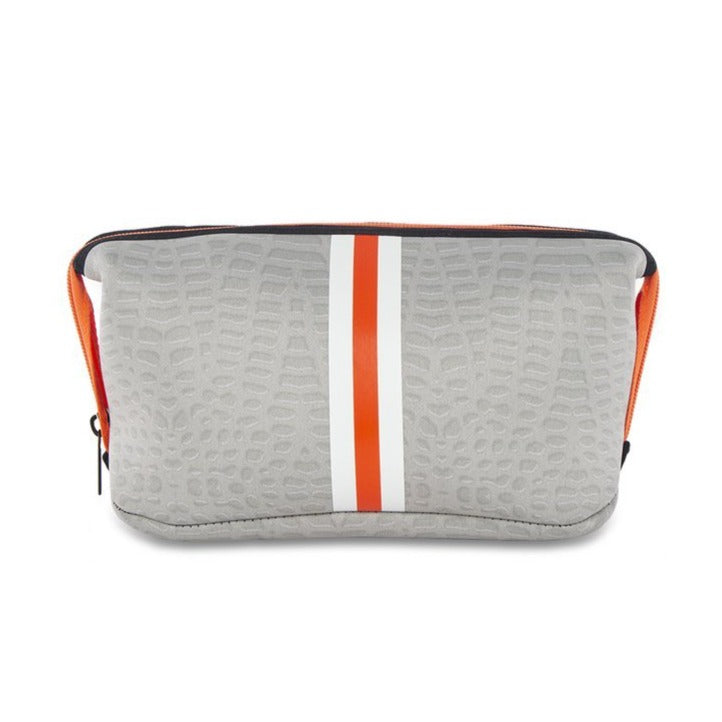 Erin Cosmetic Case In Cream Croc/Orange