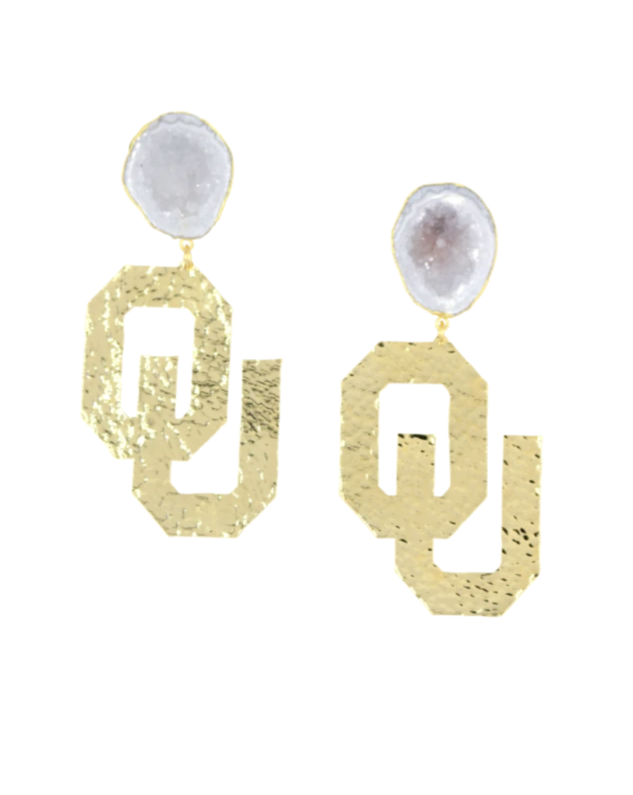 OU Gold Logo Earrings with White Geode