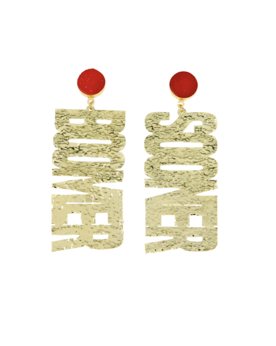 "OU Gold ""BOOMER SOONER"" Earrings with Red Druzy"