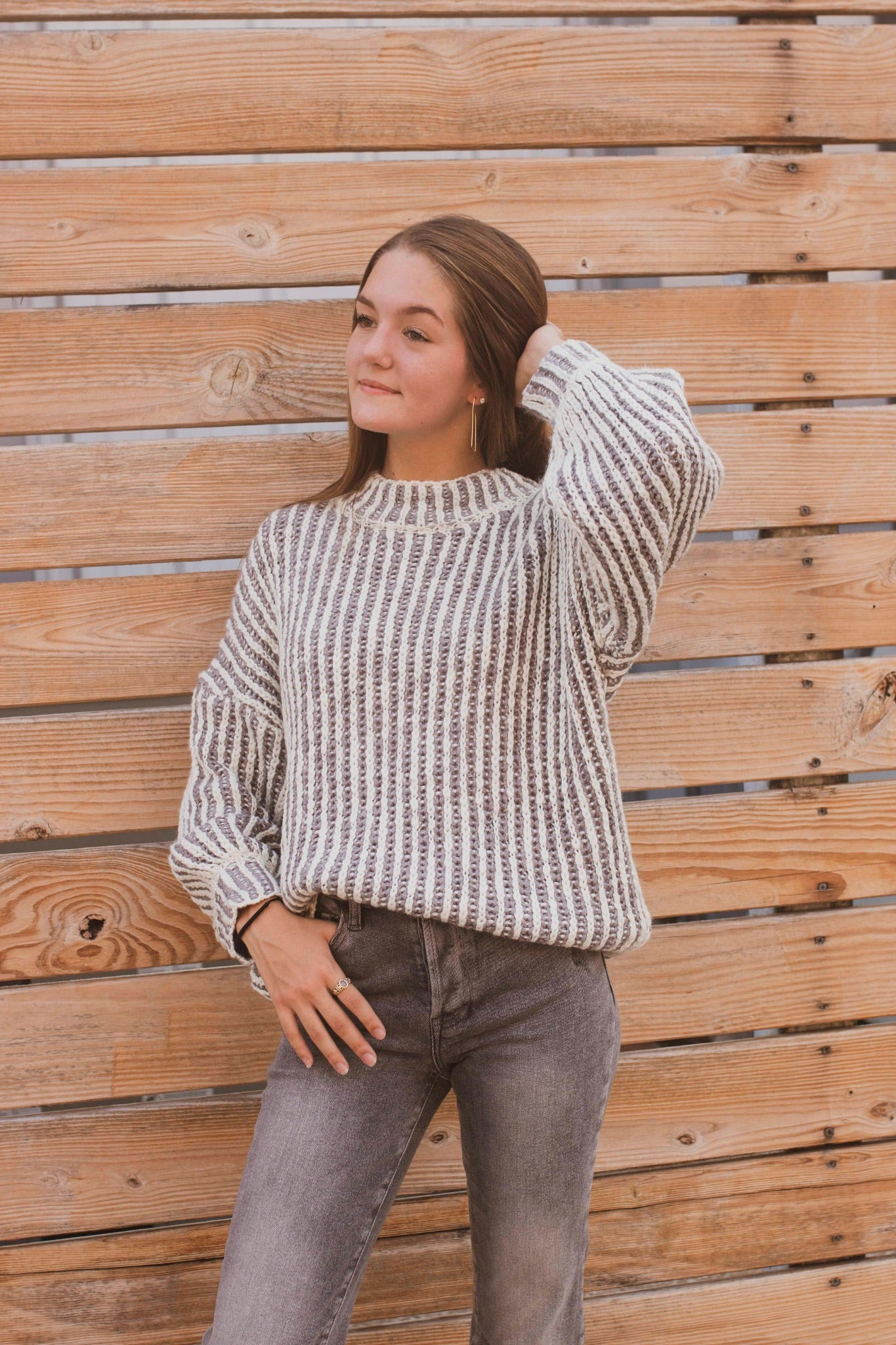 Two Tone Striped Sweater