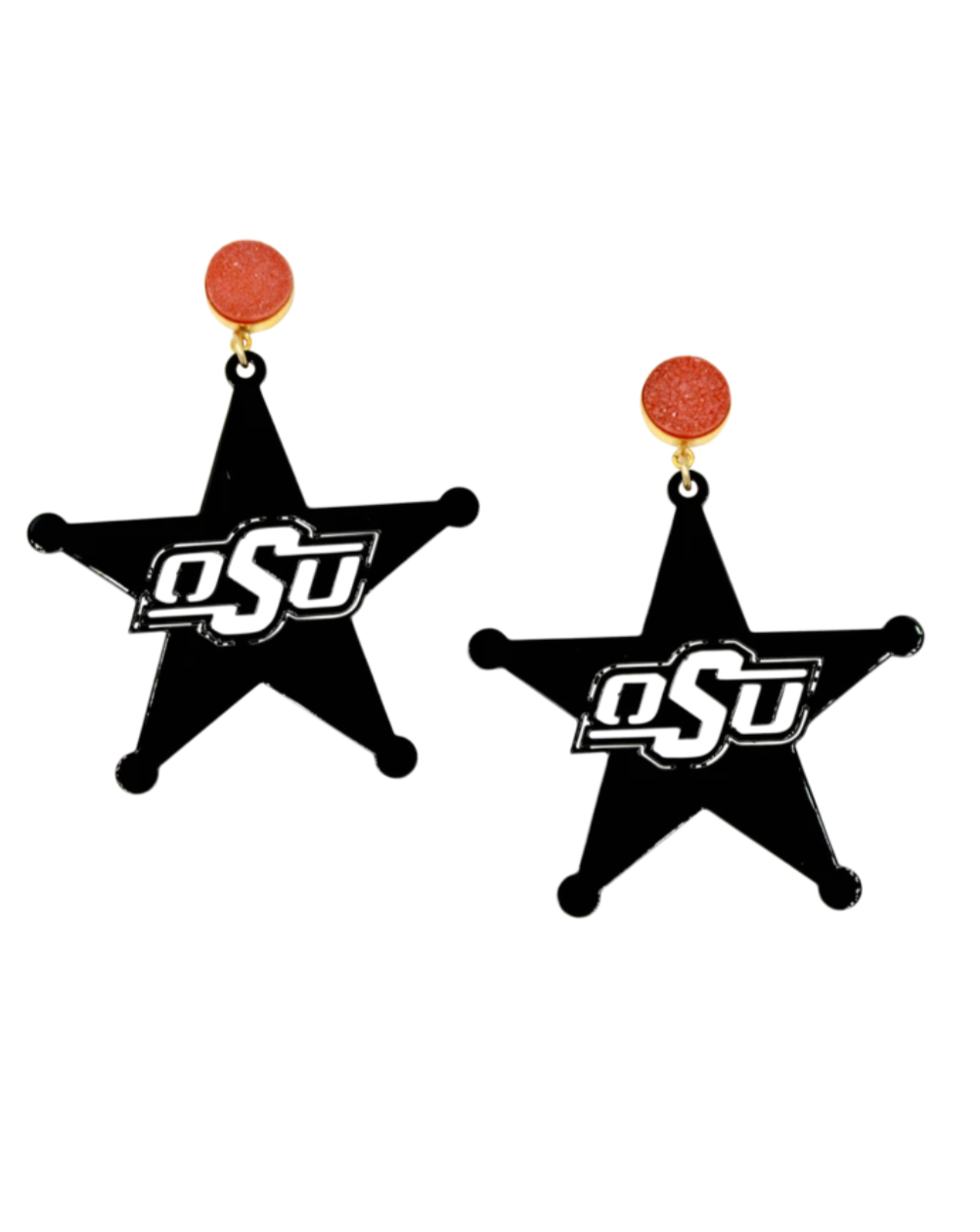 OSU Black Logo Star Earrings with Orange Druzy