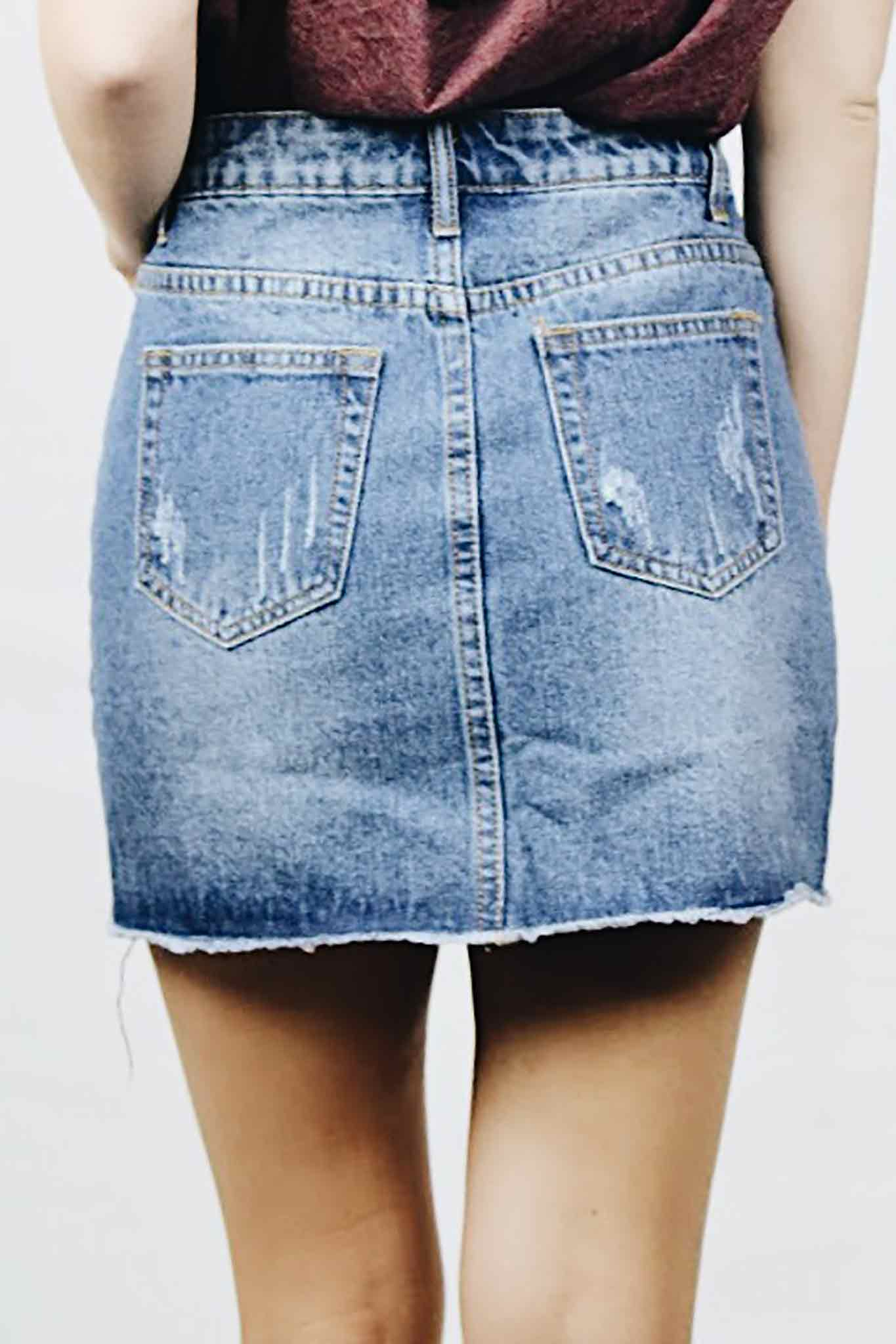 Washed vintage denim skirt