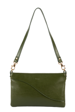 Load image into Gallery viewer, Kairi dark green cactus leather baguette bag