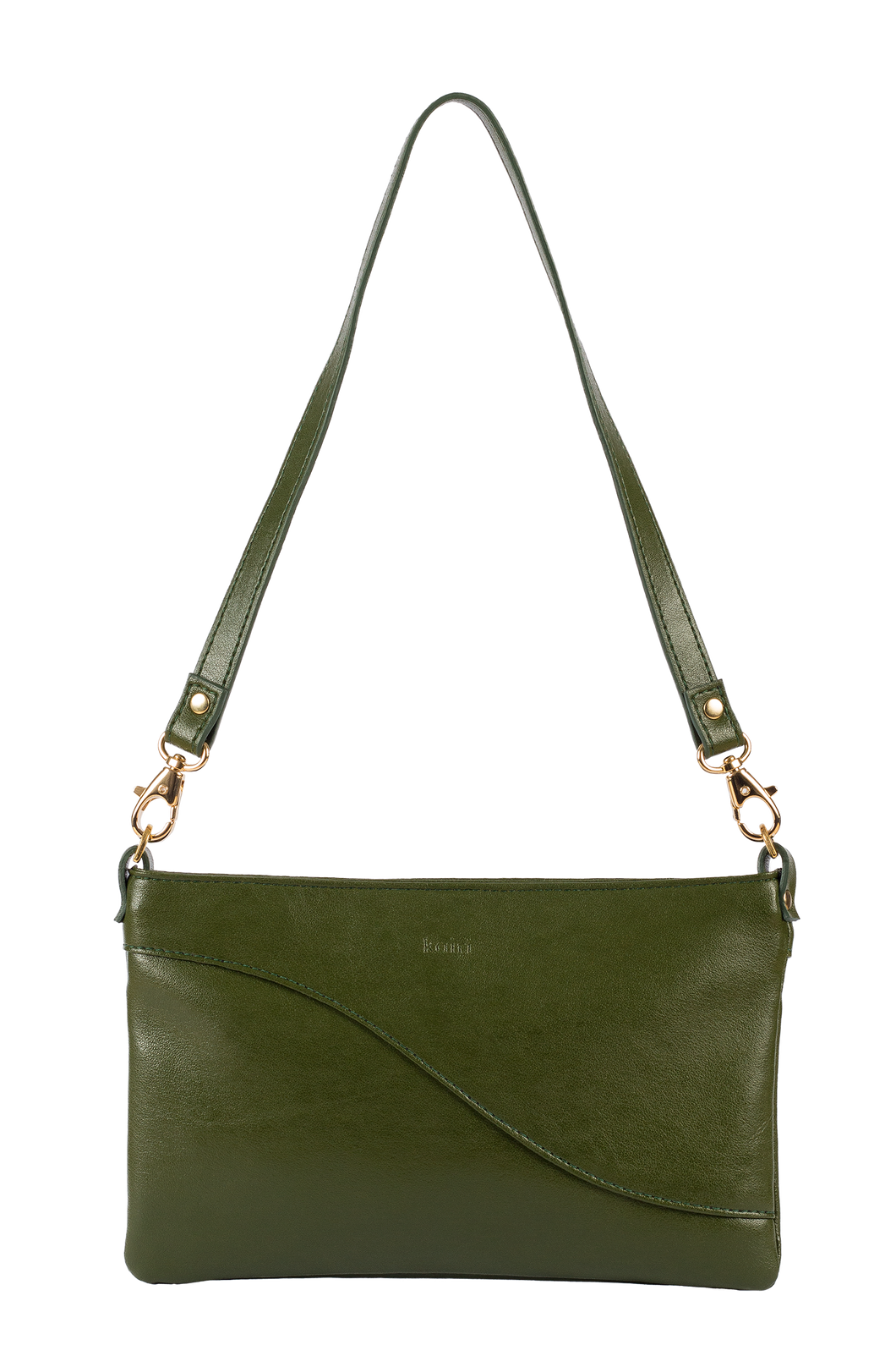 Kairi dark green cactus leather baguette bag