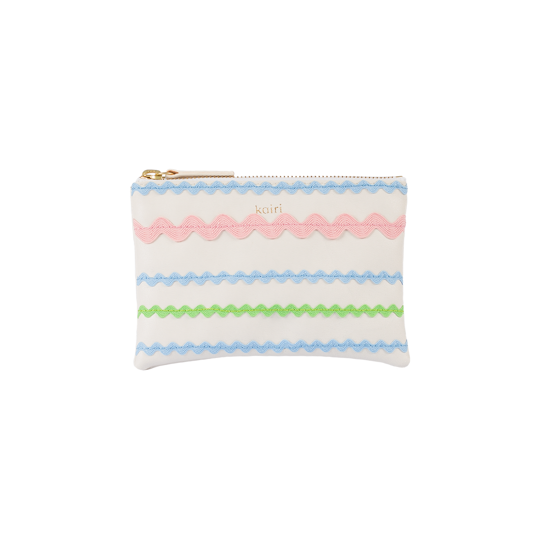 Zig zag purse - green, pink & blue