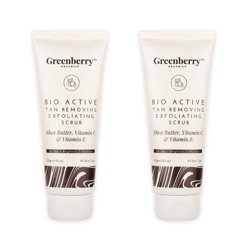 Greenberry Organics Bio Active Tan Removing Exfoliating Scrub for Pigmentation, Tan Removal & Skin Brightening 120 Grams - Pack Of 2