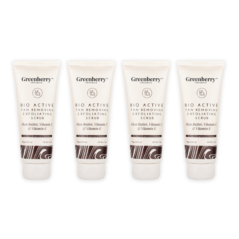 Greenberry Organics Bio Active Tan Removing Exfoliating Scrub for Pigmentation, Tan Removal & Skin Brightening 120 Grams - Pack Of 4