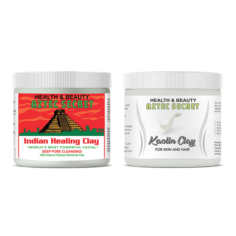 Aztec Secret Combo Pack Indian Healing Clay & Kaolin Clay For Unisex 454g+400g