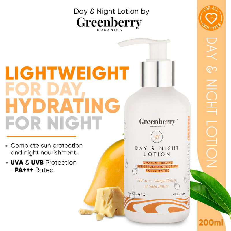 Greenberry Organics Day & Night Lotion with SPF 40+, PA+++, UVA/UVB Protection, Skin Lightening & Brightening, Anti Ageing, Sunscreen, Unisex, All Skin Types, Pack of 4, 200 ML X 4 Bottles