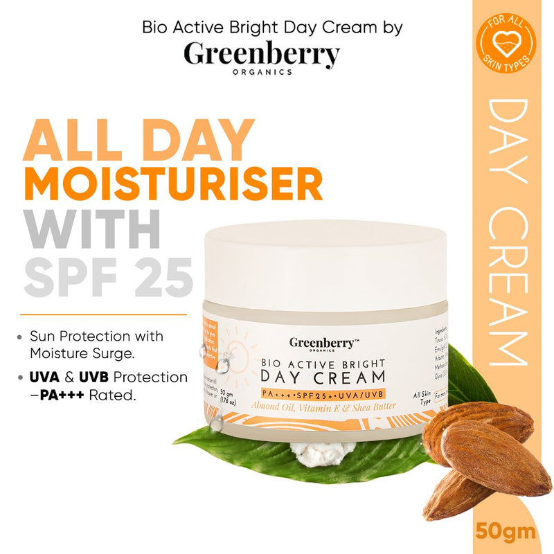 Greenberry Organics Combo of Bio Active Skin Lightening Face Gel, Night Therapy Cream, Bright Day Cream and Vitamin C Serum Gold & Hyaluronic Acid, Pack of 4(30ML + 50GM + 50GM + 30ML)