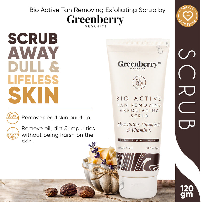 Greenberry Organics Bio Active Tan Removing Exfoliating Scrub for Pigmentation, Tan Removal & Skin Brightening 120 Grams - Pack Of 10