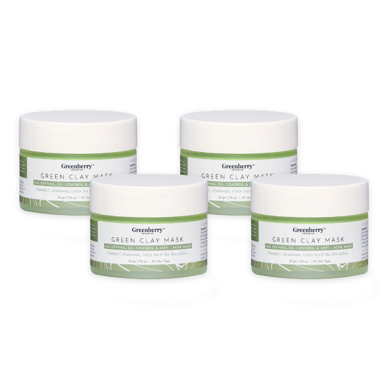 Greenberry Organics Brazilian Rainforest Green Clay Mask | Skin Healer and Natural Astringent | Normal to Oily Skin (50 GMS)-Pack of 4