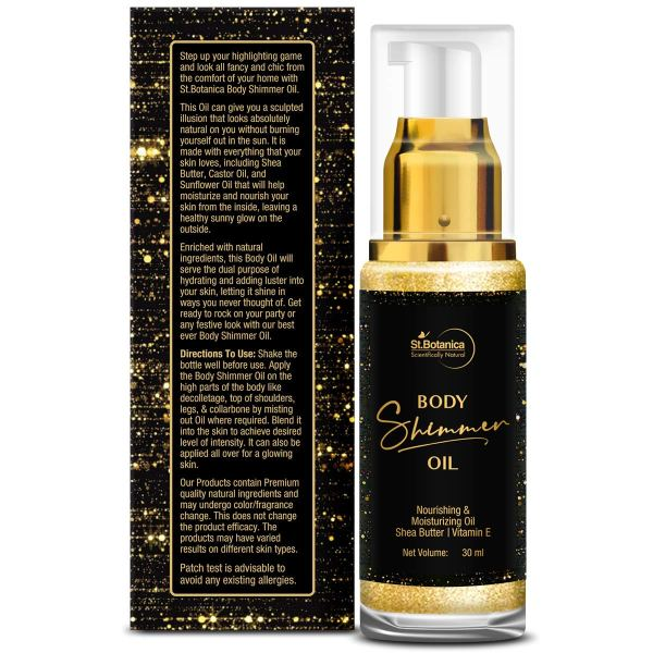 Body Shimmer Oil -With Shea Butter, Vitamin E, 30ml