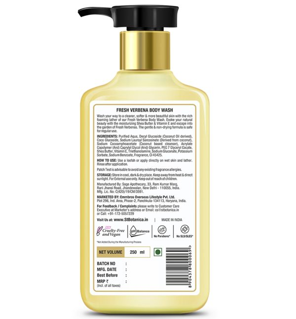 Fresh Verbena Body Wash – With Shea & Vitamin E (Shower Gel), 250 ml