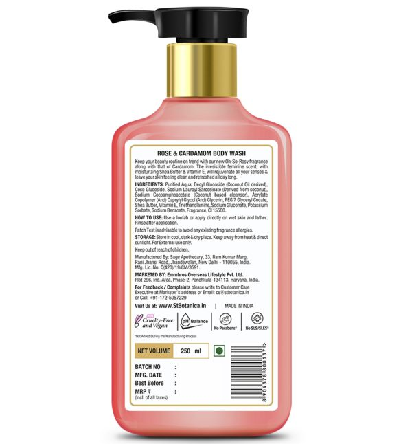 Rose & Cardamom Body Wash – With Shea & Vitamin E (Shower Gel), 250 ml
