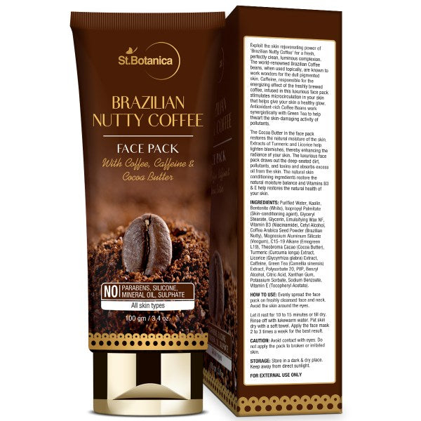 Brazilian Nutty Coffee Face Mask, 100g (With Coffee, Caffeine & Cocoa)