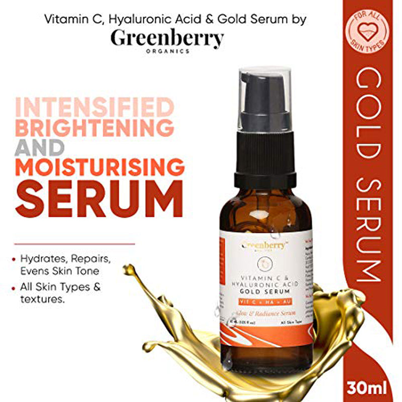 Greenberry Organics Vitamin C, Hyaluronic Acid & Gold Serum for Glow & Radiance, 15% Vitamin C, 5% Hyaluronic Acid, Natural & Organic, Men & Women, 30 ML Pack Of 10
