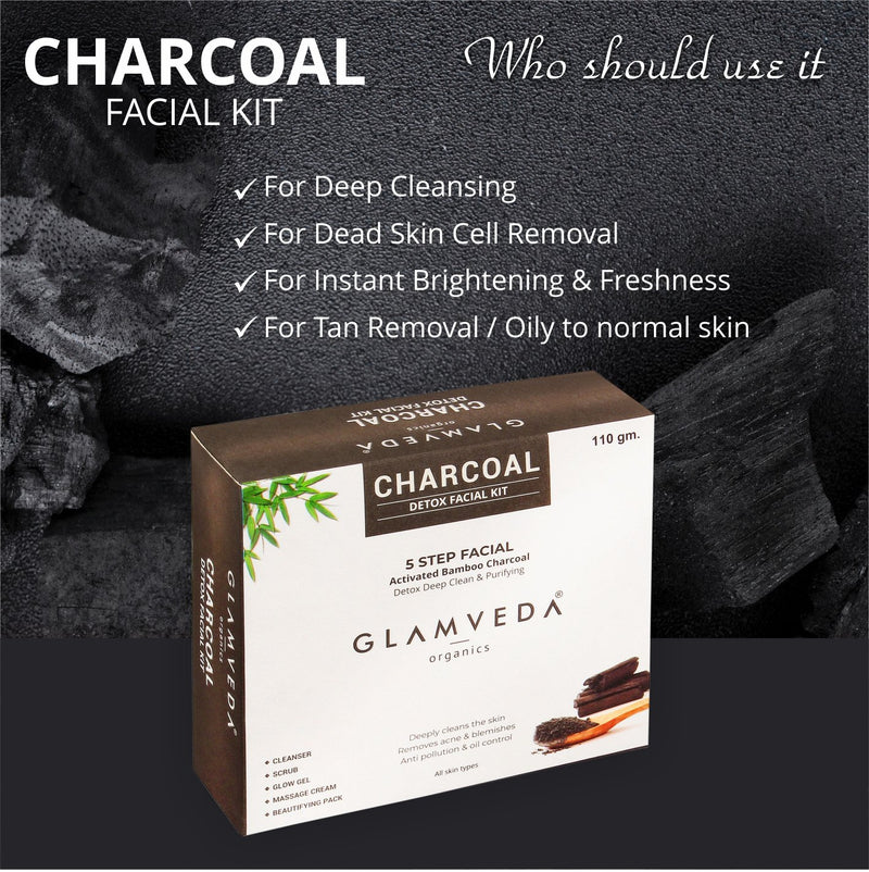 GLAMVEDA Charcoal Purifying & Detox Facial Kit 110g| 5 Step Facial Kit