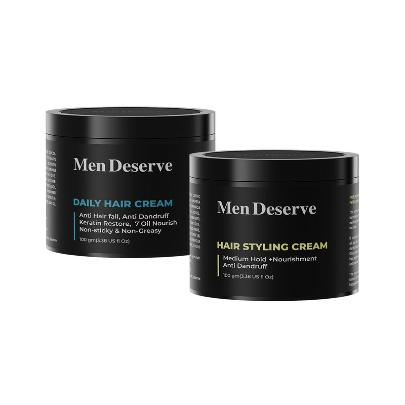 Men Deserve Combo of Daily Hair Cream + Hair Styling Cream Medium Hold