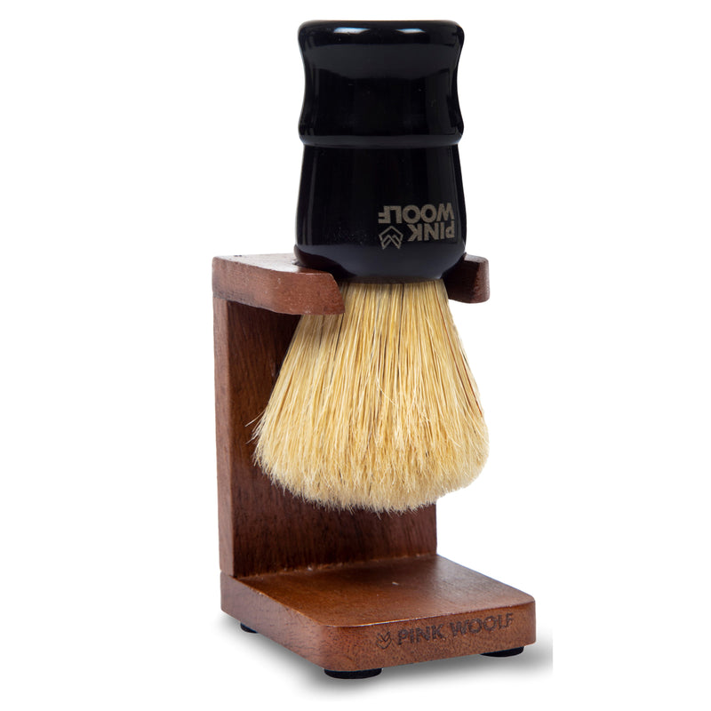 Pink Woolf Boar Shaving Brush With Shaving Brush Stand