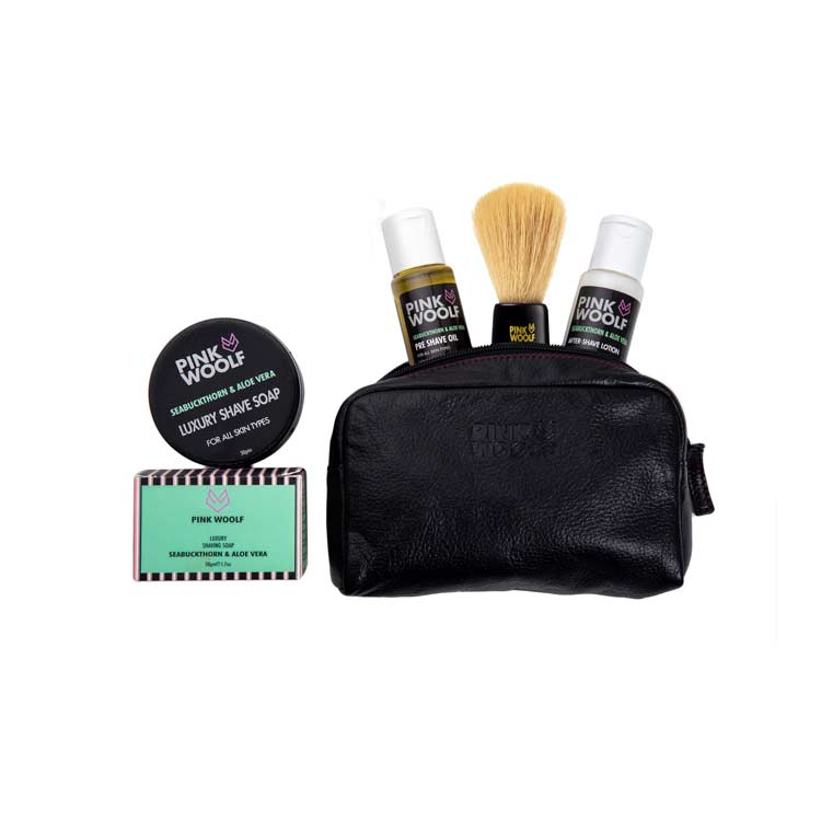 Pink Woolf Smooth Shaving Combo with Leather Bag