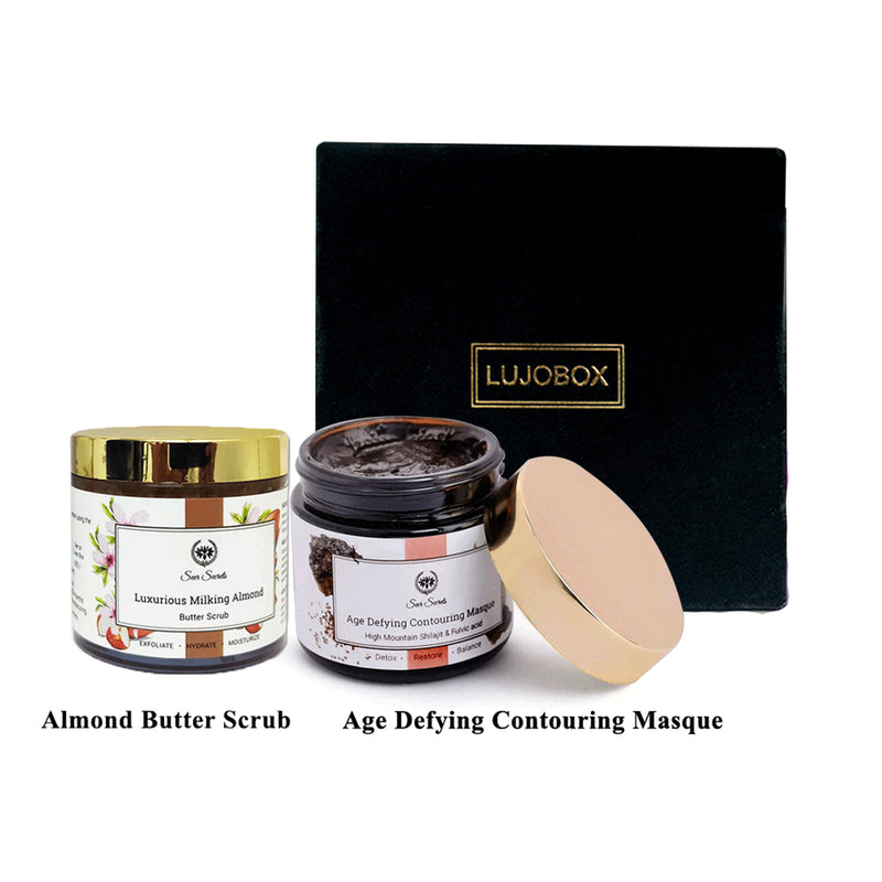 Lujobox Seer Secrets Age Defying Contouring Masque and Almond Butter Scrub combo by Lujobox
