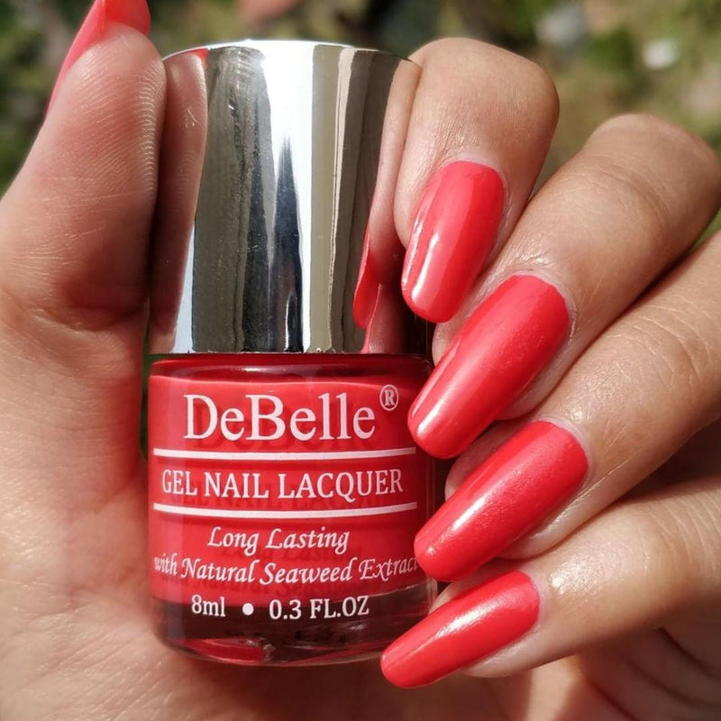 DeBelle Coral orange nail polish Shade